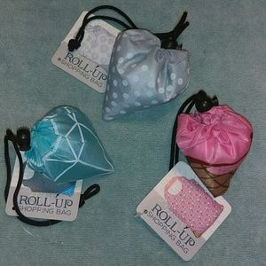 Trio of roll up shopping bags